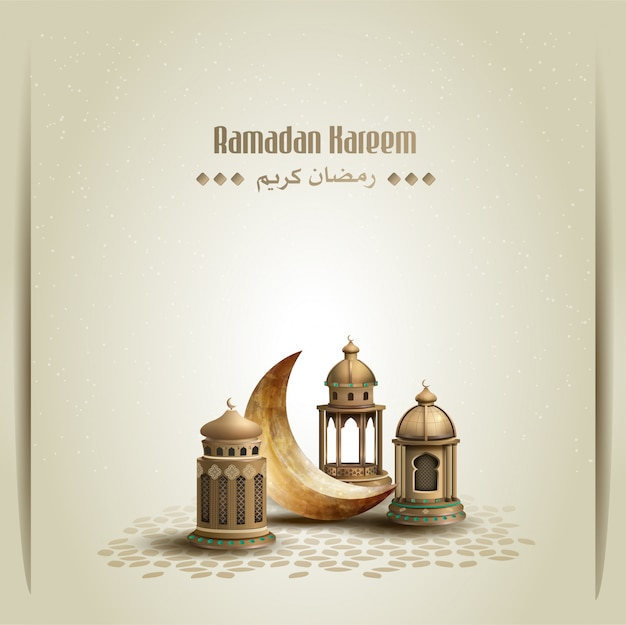 Islamic greetings ramadan kareem card design with golden lanterns and crescent moon