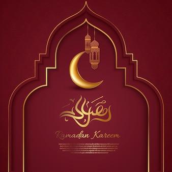 Исламское приветствие рамадан карим дизайн карты с фонарями Premium векторы