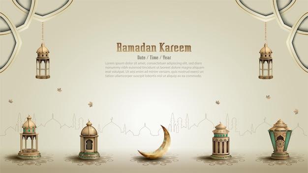 Исламское приветствие рамадан карим дизайн карты
