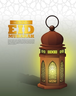 Islamic greetings ramadan kareem design with illustrations lantern