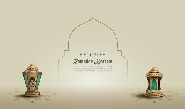 Исламское приветствие рамадан карим дизайн с двумя золотыми фонарями