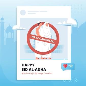 Islamic hajj canceled illustration on social media post template