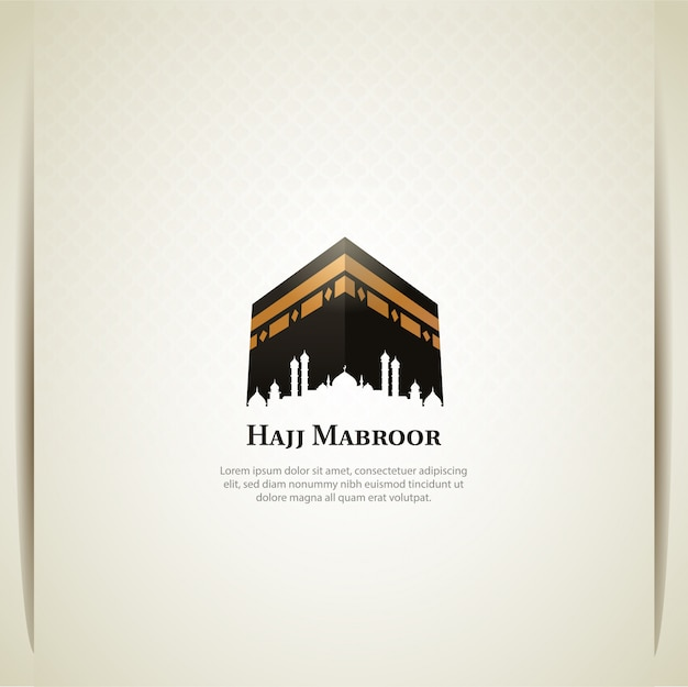 Islamic hajj pilgrimage card design wth holy kaaba