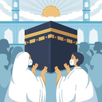 イスラムのメッカ巡礼のイラスト