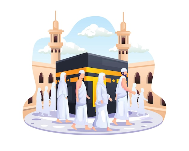 Islamic hajj pilgrimage people are walking around the kaaba illustration