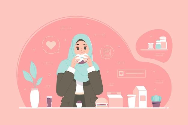 ドーナツを食べるイスラムのヒジャーブの女の子のキャラクター