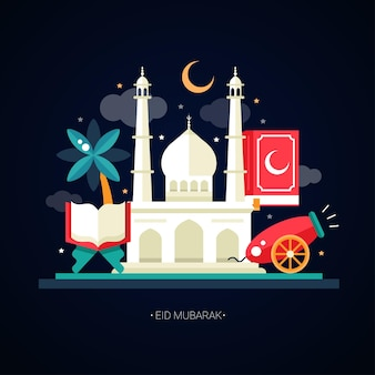 Islamic holiday, culture, traditional greeting eid mubarak. cannon, mosque, lamp, sacred book, palm tree