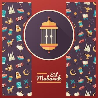 Исламский праздник, культура, традиционное приветствие ид мубарак. мусульманский мужчина, женщина, верблюд, пушка, мечеть, четки, лампа, барабан