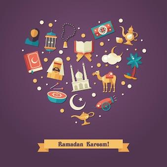 イスラムの休日、文化、伝統的な挨拶ラマダンカリーム。イスラム教徒の男性、女性、ラクダ、大砲、モスク、数珠、ランプ、ドラム