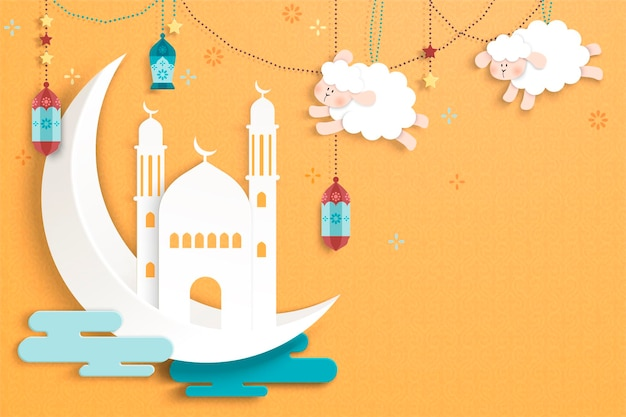 Islamic holiday design in cute paper art style, crescent, mosque and hanging sheep on chrome yellow background