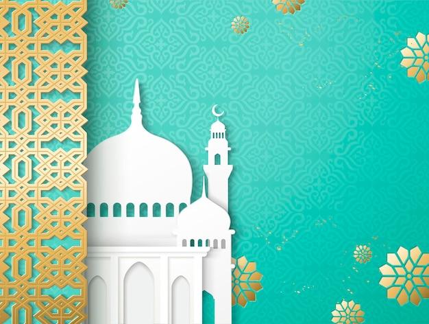 흰색 모스크와 청록색 배경에 황금 당초 프레임 종이 아트 스타일의 이슬람 휴일 디자인
