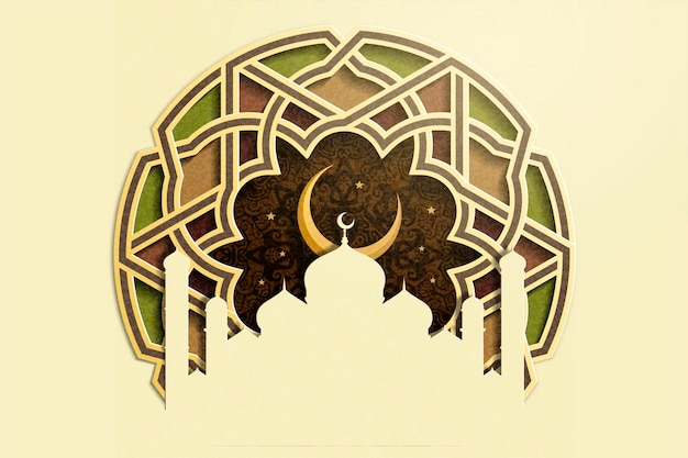 Islamic holiday design with mosque and crescent on carved floral paper art style