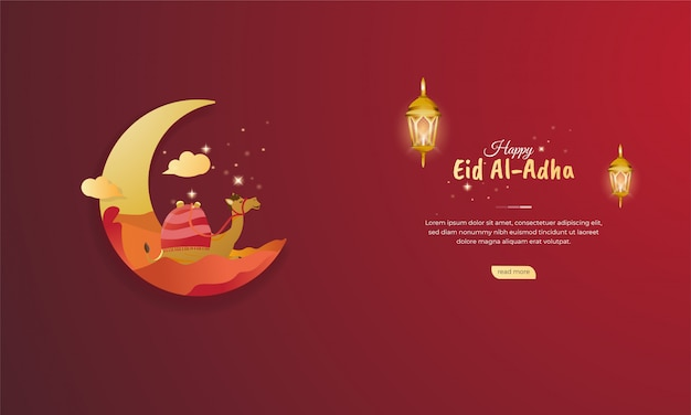 Islamic holiday of eid al adha illustration for web banner greeting concept