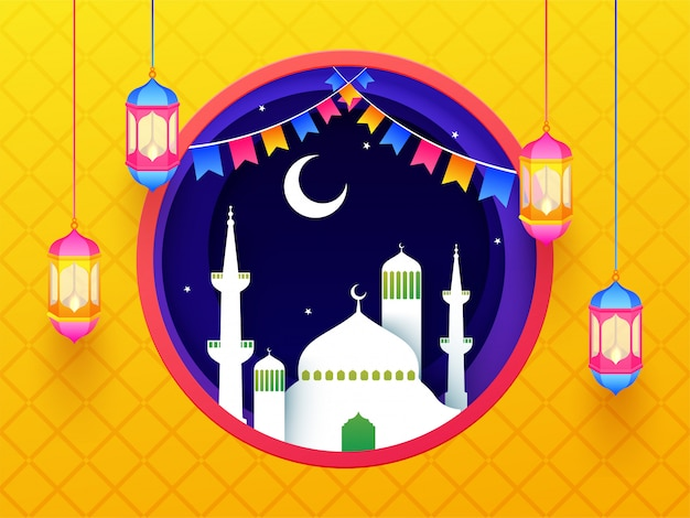 Islamic holy month of fasting, ramadan celebration banner or pos