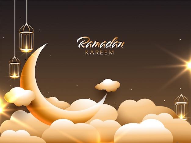 Исламский священный месяц рамадан карим концепции с золотой полумесяц, облака и висит освещенные фонари на коричневом фоне.