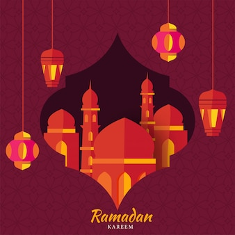 Islamic holy month of ramadan concept with hanging illuminated lanterns, mosque on pink textured background.