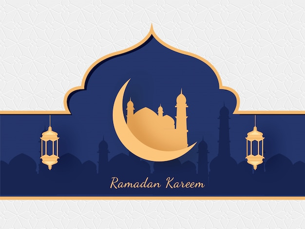 Islamic holy month of ramadan kareem with golden mosque, crescent moon and hanging lanterns on mosque silhouette on purple and white background.