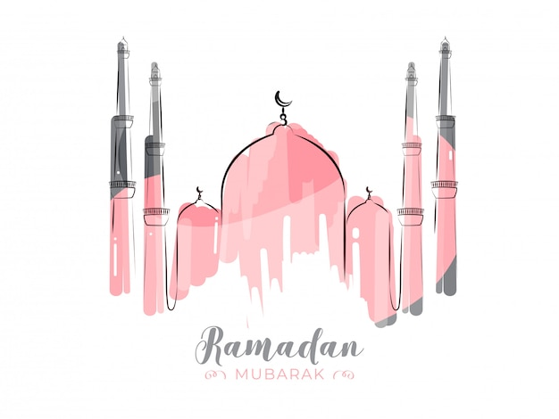 Islamic holy month of ramadan kareem with line-art pink mosque on white background.
