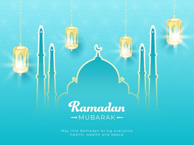 Islamic holy month of ramadan mubarak with illuminated lanterns and line-art mosque on skyblue background.