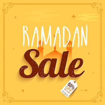 Islamic holy month, ramadan sale background with mosque. can be used as poster, banner or flyer design.