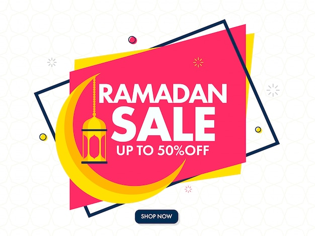 Islamic holy month of ramadan sale banner design with golden crescent moon and hanging lanterns on pink and white background.