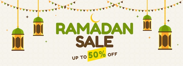 Islamic holy month of ramadan sale banner with hanging colorful lanterns, crescent golden moon and colorful bunting flags.