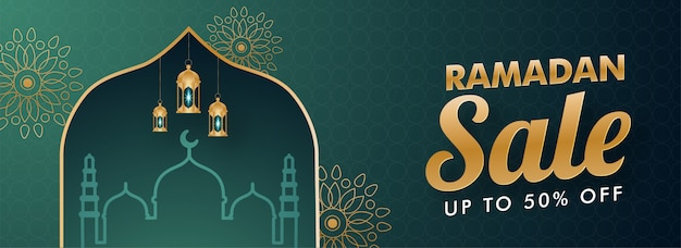 Islamic holy month of ramadan sale banner with mosque, and hanging golden lanterns illustration on teal green background.