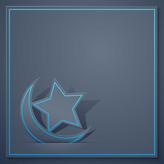 Islamic icon crescent and star for greeting background
