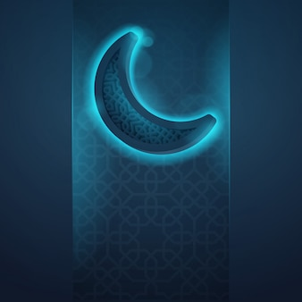 Islamic icon glow crescent greeting background