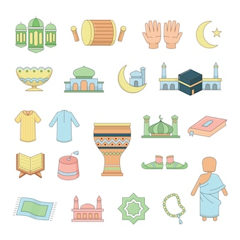 Islamic icons set