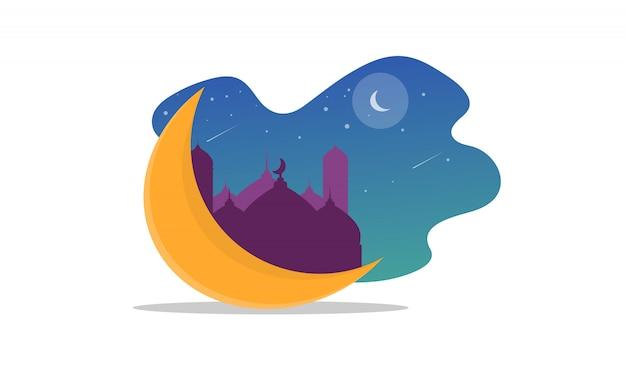 Islamic illustration to celebrate ramadan, eid al-fitr