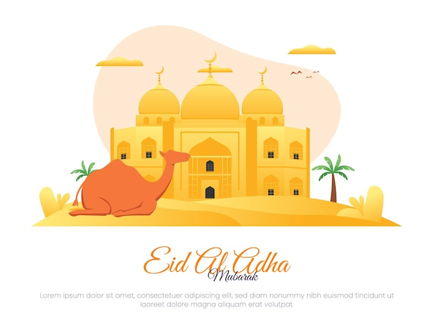 Islamic illustration concept for eid al adha with camel on desert background and mosque