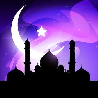 Иллюстрация рамадан и иид с мечетью и луной