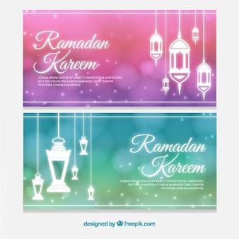 イスラムは、ラマダンのバナーをランプ
