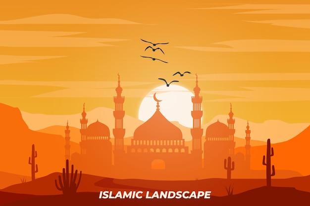 이슬람 풍경 평면 모스크 디저트 선인장