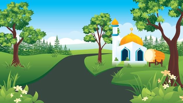 モスクフラットスタイルのイスラムの風景