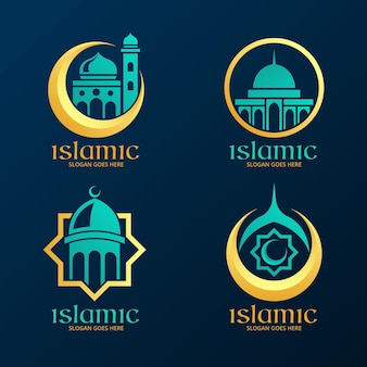 Islamic logo collection with mosque