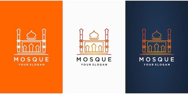 Коллекция исламских логотипов с мечетью.