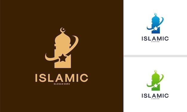 Islamic logo designs concept, star mosque tower logo template vector