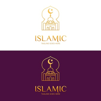 Islamic logo in golden on different backgrounds