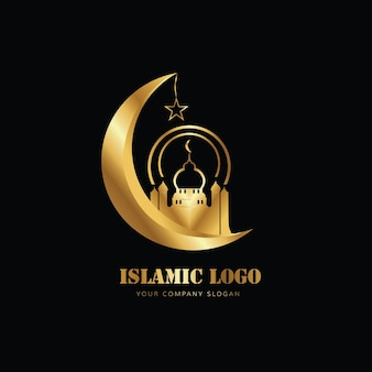 Islamic logo of mosque moon in gold color