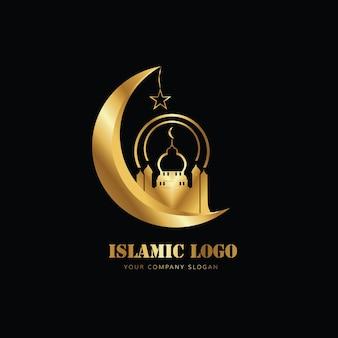 골드 컬러로 모스크 달의 이슬람 로고