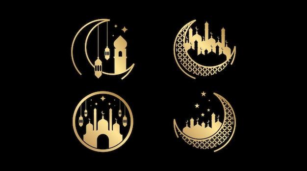 Набор исламских логотипов. исламский шаблон логотипа.