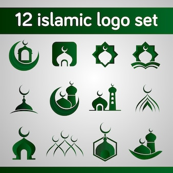 Islamic logo set with mosque shape and modern concept