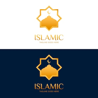 Islamic logo in two colors with golden elements