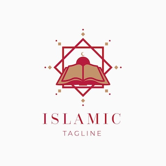 Islamic logo with book template