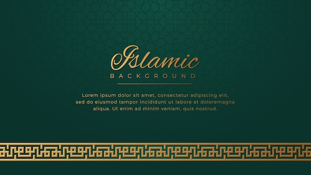 Islamic luxury golden ornament border arabesque pattern green background