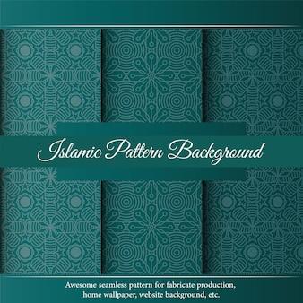 Исламский роскошный зеленый орнамент границы арабески узор