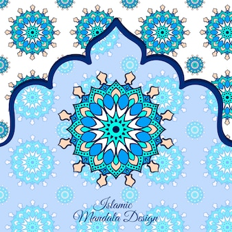 Islamic luxury ornamental mandala design background in blue color