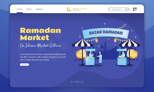 An islamic market culture for ramadan concept on landing page